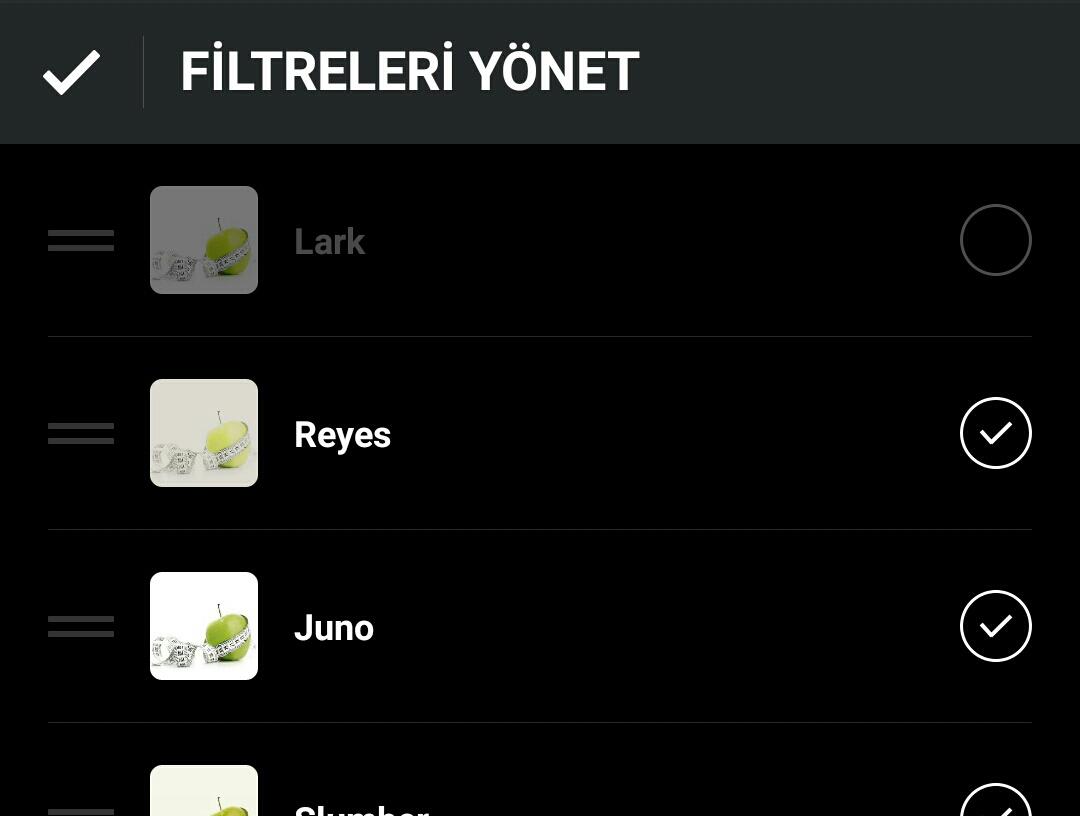insta filter select